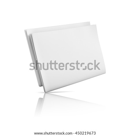 Folded blank newspaper on white background. Template for publishing house. 3d illustration - stock photo