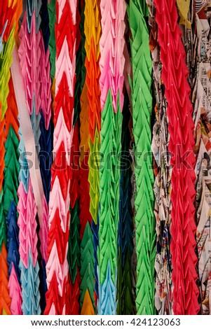 Folded cranes - stock photo