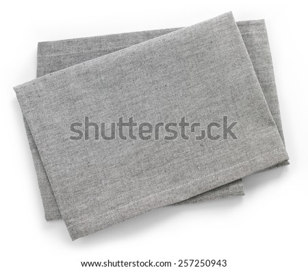 Folded grey cotton napkin isolated on white background top view - stock photo