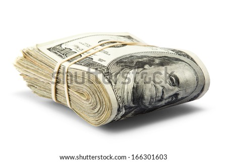 folded hundred dollar bills - stock photo
