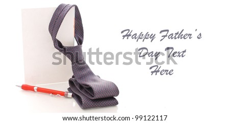 Folded Neck Tie Hanging From Greeting Card with Pen and Space for Custom text on White - stock photo
