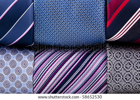 folded neckties background - stock photo