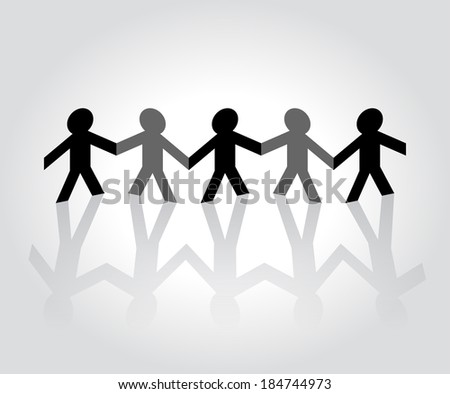 Folded paper people holding hands - stock photo