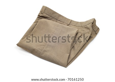 folded trousers isolated on a white background - stock photo