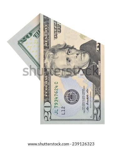 Folded twenty dollars bill isolated on white background - stock photo