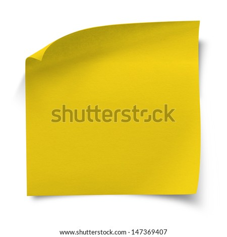 Folded yellow sticker note paper, isolated on white, clipping path. - stock photo