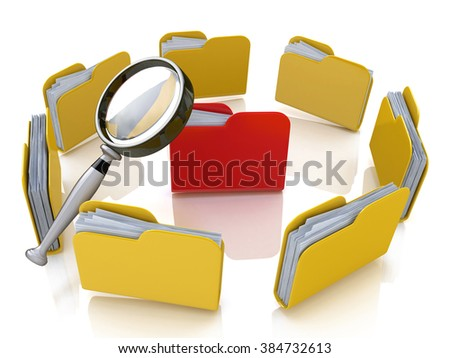 Folder and file search with magnifying glass in the design of the information associated with the search for the right information - stock photo