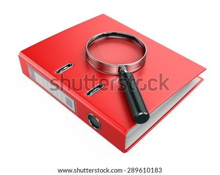 Folder and magnifying glass - Search of data concept - stock photo