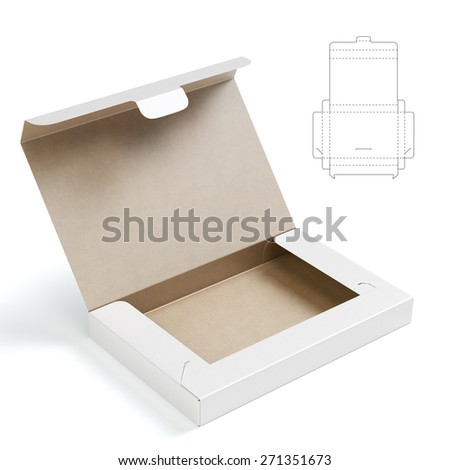 Folder Box with Lock and Die Cut Template - stock photo