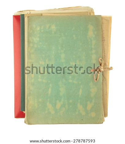 folder filling old papers isolated on white background - stock photo