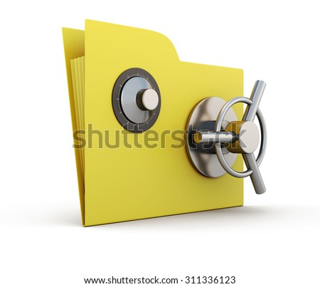 Folder for papers with safe lock isolated on white background. 3d. - stock photo