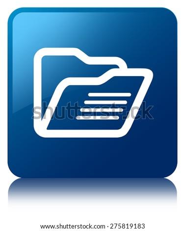 Folder icon blue square button - stock photo
