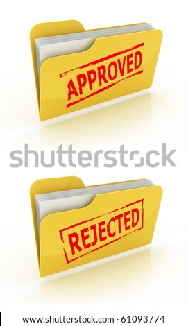 folder icon for approved / rejected documents - stock photo
