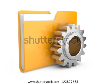 folder icon with gear wheel. settings sign - stock photo
