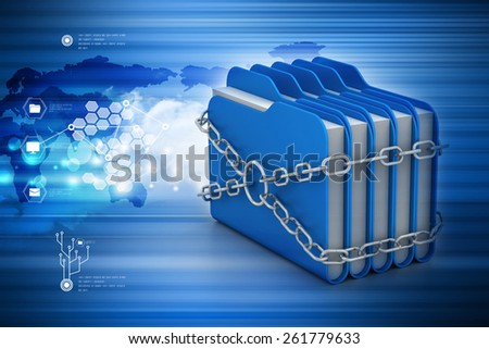 folder locked by chains - stock photo