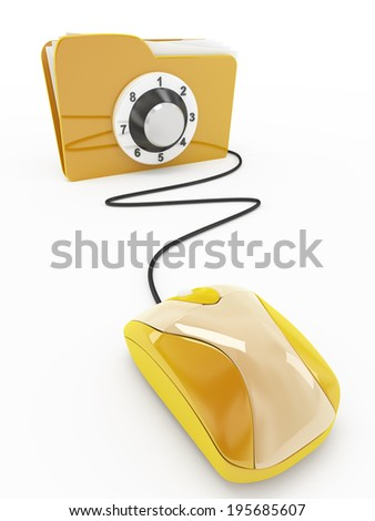 folder security and mouse concept - stock photo