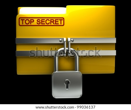 Folder with closed padlock (Top secret) isolated on black background High resolution. 3D image - stock photo