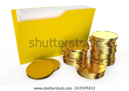 folder with coins  isolated on  white background  - stock photo