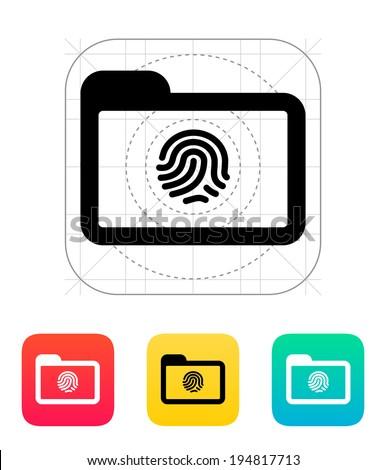 Folder with fingerprint icon. - stock photo