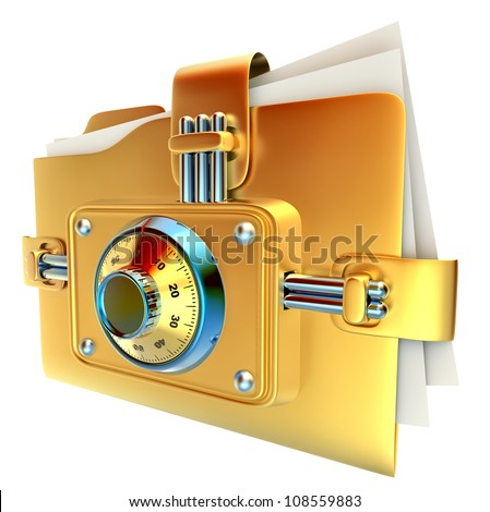 folder with golden combination lock stores important documents - stock photo