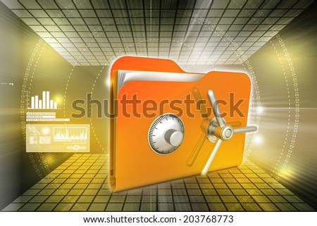 folder with safe lock   - stock photo