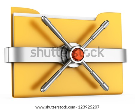 folder with safe lock isolated on white background. 3d rendered image. data protection concept - stock photo