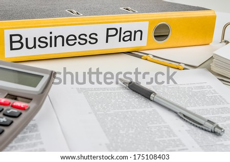 Folder with the label Business Plan - stock photo
