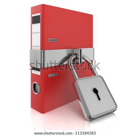 folder with the lock on a white background - stock photo