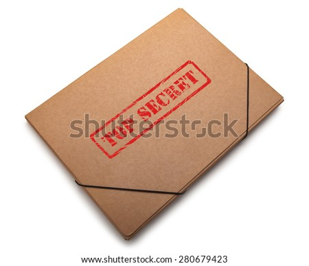 Folder with the words Top Secret stamped on it, Isolated on a white background. - stock photo