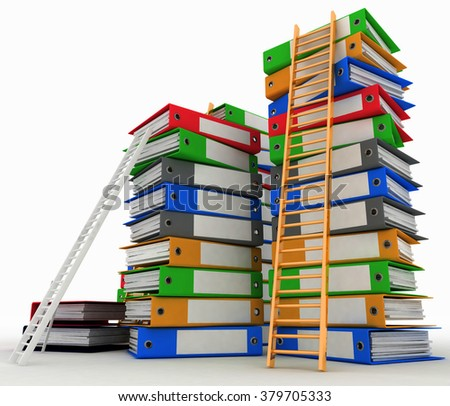 Folders and ladders. Conception of career advancement. 3d illustration on white background - stock photo
