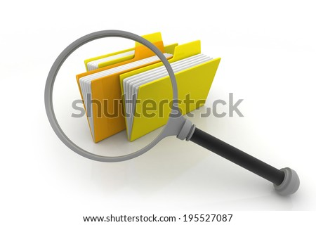 folders and magnifying glass  - stock photo