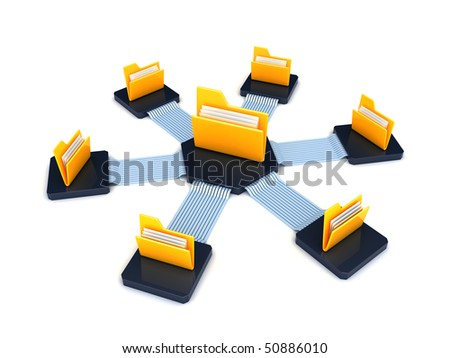 folders connected over network - stock photo