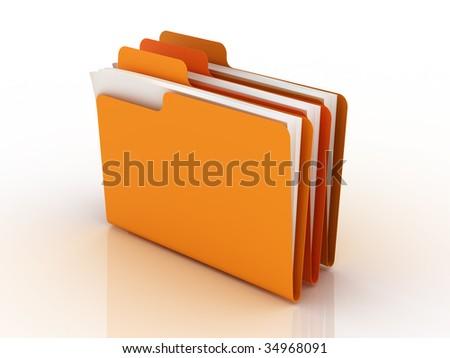 folders. 3d rendering. - stock photo