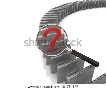 Folders. Data search concept. 3d rendered image - stock photo