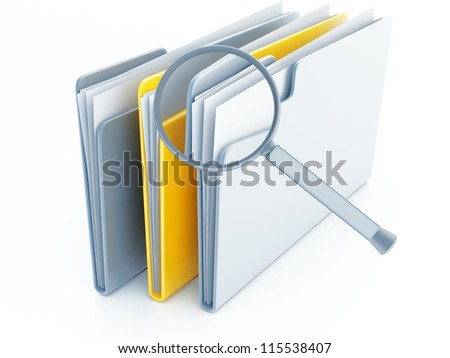 folders with papers under magnifier on a white background - stock photo