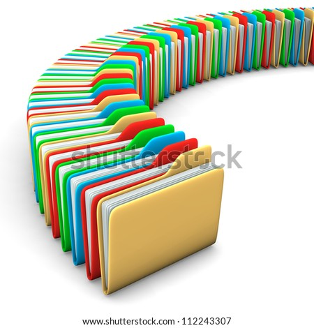 Folders yellow, red, blue and green colors on the white background. - stock photo