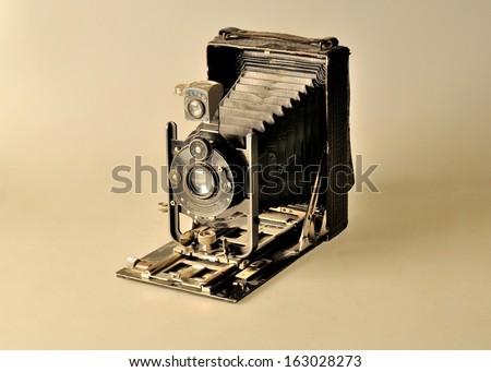 Folding bed plate medium format vintage film camera - stock photo