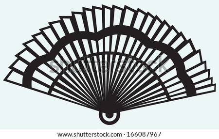 Folding fan isolated on blue background. Raster version - stock photo