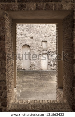 Foligno (Perugia, Umbria, Italy) - In the court of a historic palace, detail - stock photo