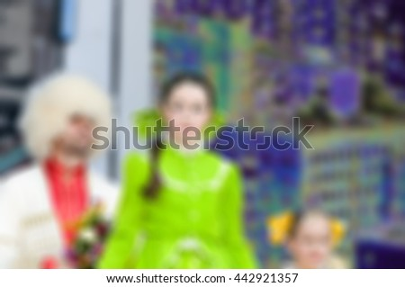 Folk dance concert theme creative abstract blur background with bokeh effect - stock photo