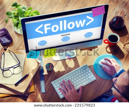 Folllow Connection Social Networking Media Concepts - stock photo