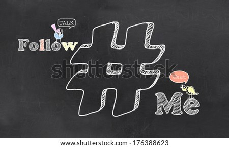 Follow Me Birds and Hashtag on Blackboard - stock photo