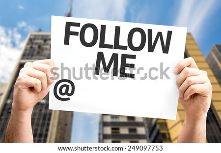 Follow Me with a copy space to put your profile card with a urban background - stock photo