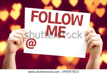 Follow Me with a copy space to put your profile card with heart bokeh background - stock photo