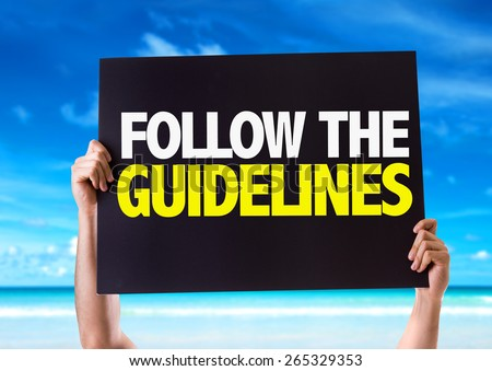 Follow the Guidelines card with beach background - stock photo