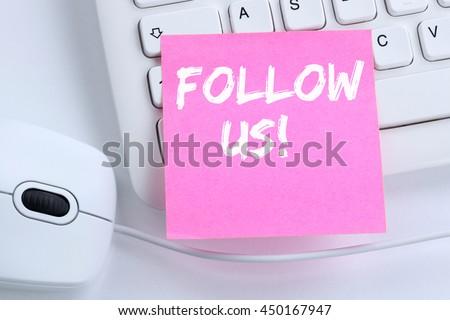Follow us follower followers fans likes social networking media internet office computer keyboard - stock photo