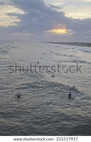 Folly Beach, South Carolina, USA - October 25, 2012: A group of surfers hang out in a quiet sea at sunset waiting for waves to ride off of Hurricane Sandy on October 25, 2012 in Folly Beach, SC   - stock photo