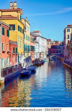 Fondamenta Rio Marin and fondamenta Garzotti on rio Marin in Cannaregio area, Venice, Italy - stock photo
