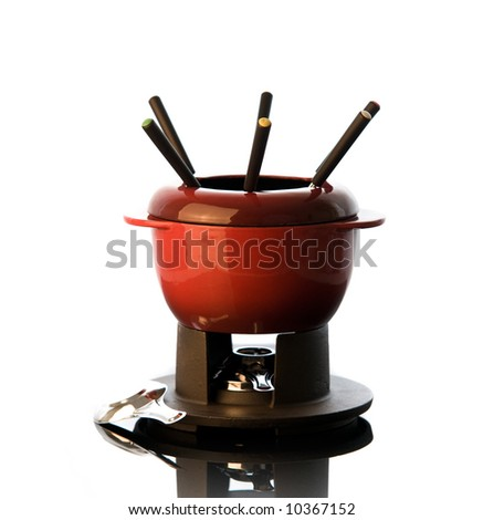 Fondue isolated on white - stock photo