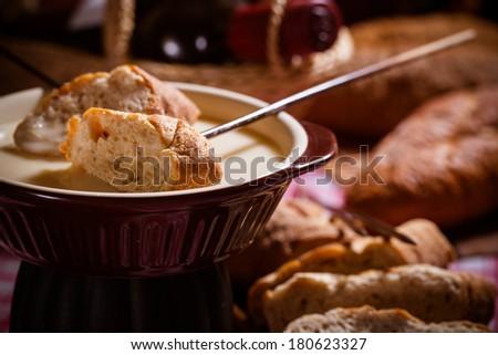 Fondue,Traditional Swiss food for winter - stock photo